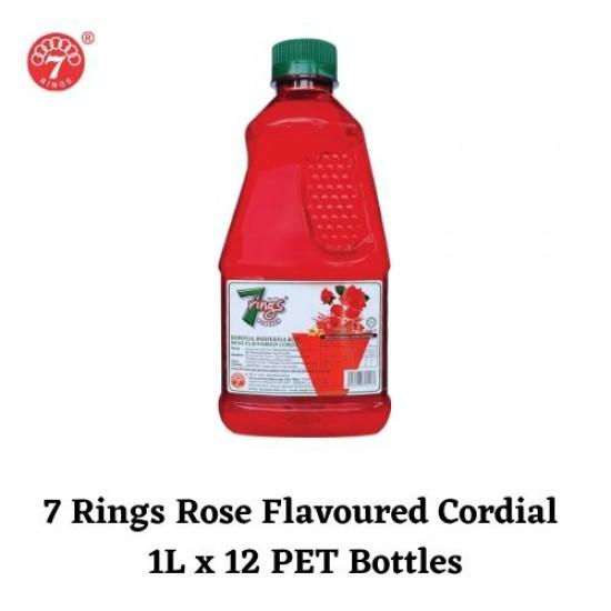 12Bottles 7 Rings 1L Rose Flavoured Cordial