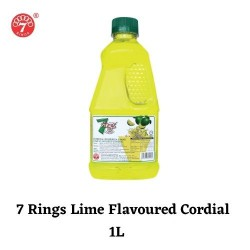 7 Rings 1L Lime Flavoured Cordial