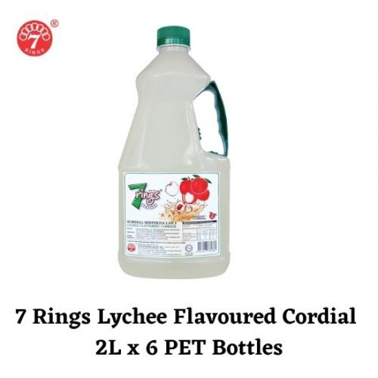 6 Bottles 7 Rings 2L Lychee Flavoured Cordial