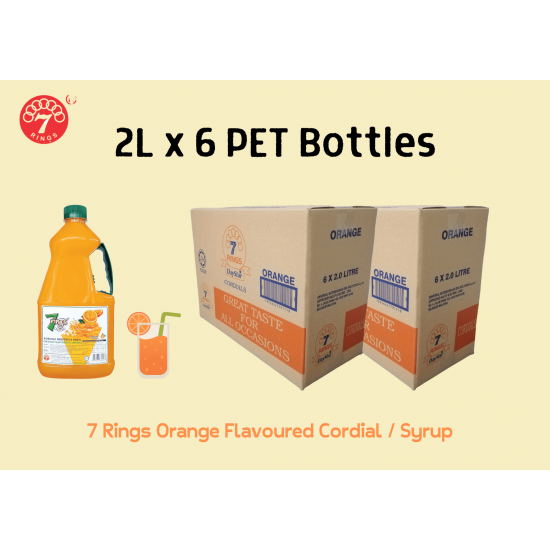 6 Bottles 7 Rings 2L Orange Flavoured Cordial