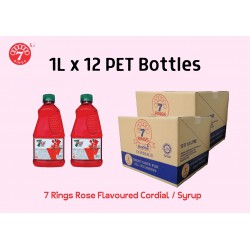 12Bottles 7 Rings 1L Rose Flavoured Cordial