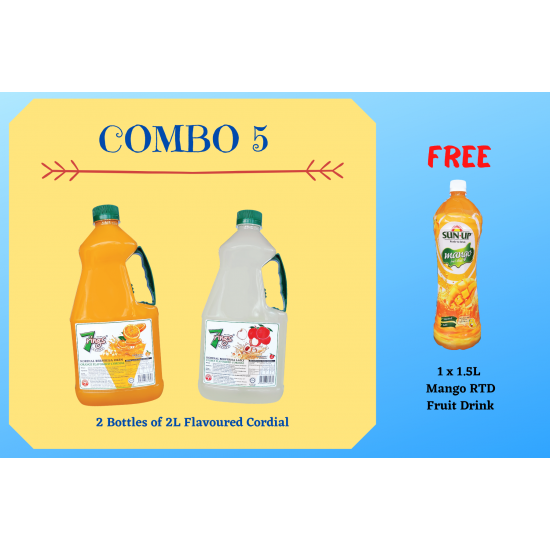 Combo 5 (2 bottles 7 Rings 2L Flavoured Cordial)