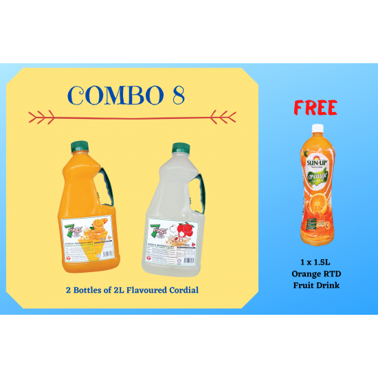 Combo 8 (2 bottles 7 Rings 2L Flavoured Cordial)