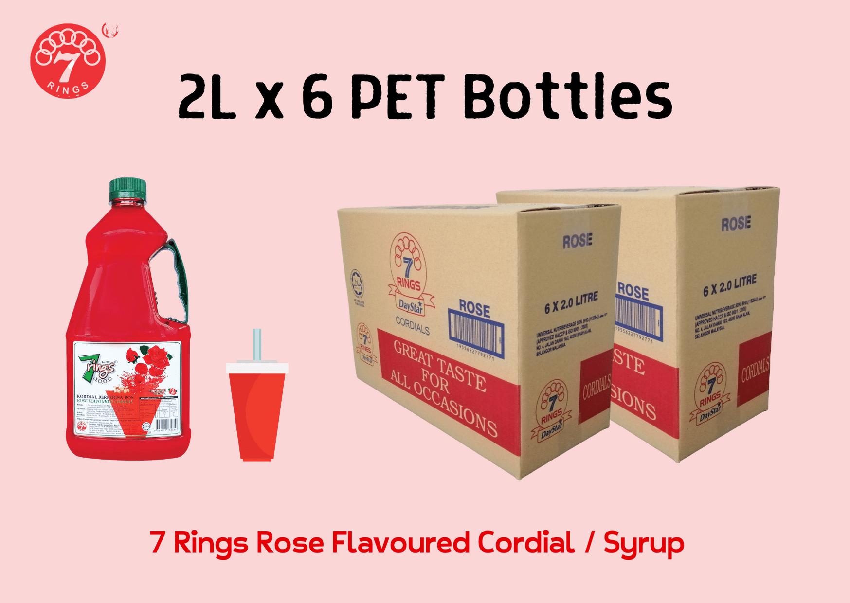 6 Bottles 7 Rings 2L Rose Flavoured Cordial